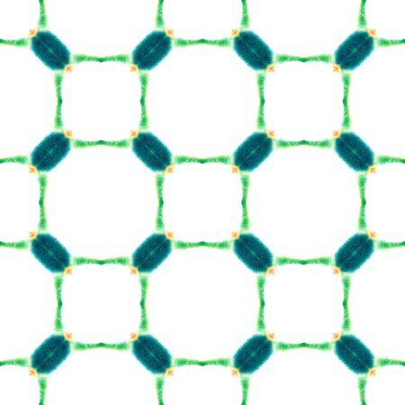 Tribal Texture. Hand Drawn Painted. Batik, Hand Drawn, Paint Texture Seamless Pattern. Green, Lime, Mint Folk Tribal Summer Textile. Geometry Geometric Watercolor. Standard-Bild - 133681784