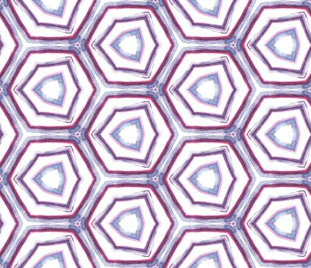 Geo Geometric, Endless Repeat Painting.  Navajo, Aztec, American, Cherokee Ornament. Tribal Texture. Folklore Canvas. Pink, Purple, Lilac Tile. Woven Ornament. Standard-Bild - 133681790