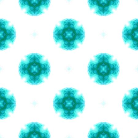 Geo Surface. Endless Repeat Painting.  Ikat, Tie Dye, Batik, Hand Drawn Ornament. Blue, Cyan, Turquoise Summer Old Traditional Wallpaper Geometrical Stripes Pattern. Standard-Bild - 133681787