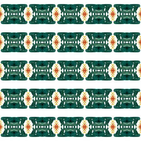 Geo Surface. Endless Repeat Painting.  Mexican Navajo, American, Cherokee Ornament. Tribal Texture. Ethnic Cloth. Green, Orange Art. Graphic Pattern. Standard-Bild - 133681788