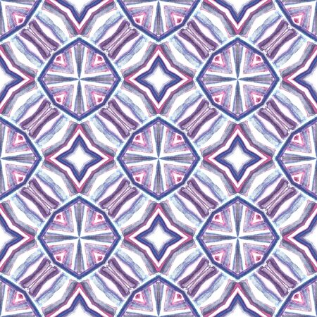 Geo Texture. Hand Drawn Painted. Indian, Aztec, Mexican, African, Seamless Pattern. Traditional Graphic. Folklore Woven. Pink, Purple, Lilac Tile. Geometry Ornament. Standard-Bild - 133681795