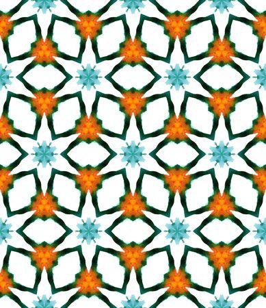 Tribal Art. Endless Repeat Painting.  Moroccan, Tunisian, Turkish, Arab, Ornament. Ethnic Surface. Modern Bed Linen. Green, Orange Print. Geometrical Print. Standard-Bild - 133681800