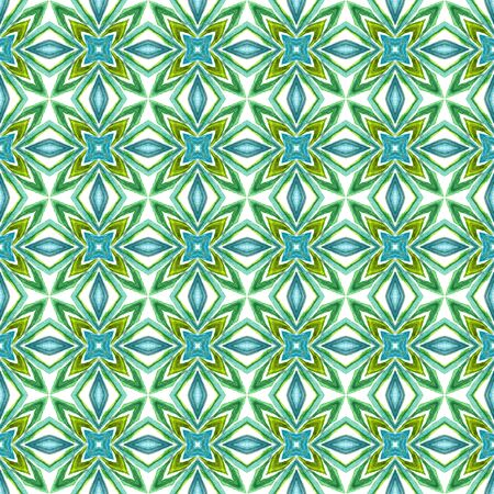 Tribal Art. Endless Repeat Painting.  Arab, Arabesque, East, Eastern Ornament. Ethnic Texture. Summer Folk Fabric. Blue, Green  Art. Geometrical Mosaic. Standard-Bild - 133681802