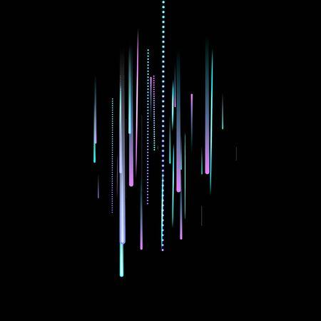 Fast Effect. Motion Neon. Glare Dynamic. Falling Glow. Flow Light Movement. Element Futuristic Design. Abstract Trail Lines, Sticks. Concept Minimal. Modern 3D Static. Techno Vector illustration. Foto de archivo - 133830777