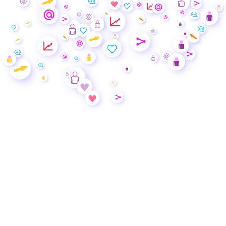 Social media marketing, Communication networking concept. Random icons social media services tags linked on white background. Comment, friend, like, share, target, message. Vector Internet concept. Illustration