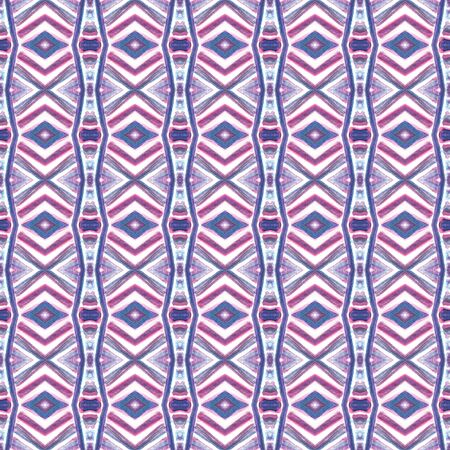 Traditional Graphic Hand Drawn Painted. Peruvian, Mexican, Navajo Seamless Pattern. Modern Abstract. Summer Canvas. Pink, Purple, Lilac Surface. Geometry Design.