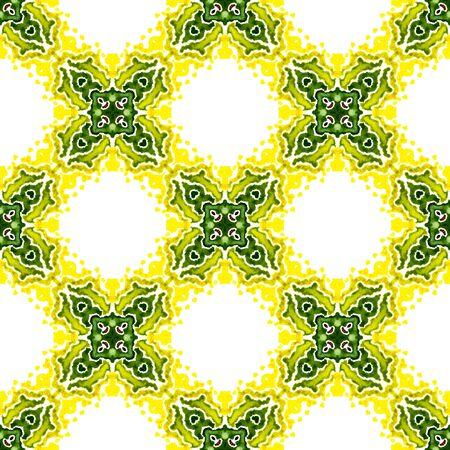 Superficie étnica. Dibujado a mano pintado. Boho, gitano, mediterráneo, sur de patrones sin fisuras. Geo geométrico. Verano Geo Textil. Arte amarillo, verde. Patrón tejido.