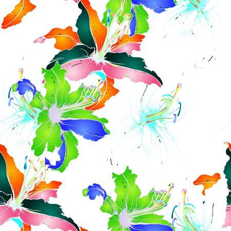 Modello senza cuciture floreale di tendenze. Motivo vettoriale botanico moderno. Texture in fiore per stampe di moda. Delineare la superficie dei fiori di giglio. Sfondo Disegnato A Mano. Elegante disegno illustrato illustrato. Vettoriali