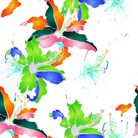 Trends Floral Seamless Pattern. Modern Botanical Vector Motif. Blooming Texture For Fashion Prints. Outline Lily Flowers Surface. Hand Drawn Background. Elegant Sketches Drawing Illustrated. Ilustração Vetorial