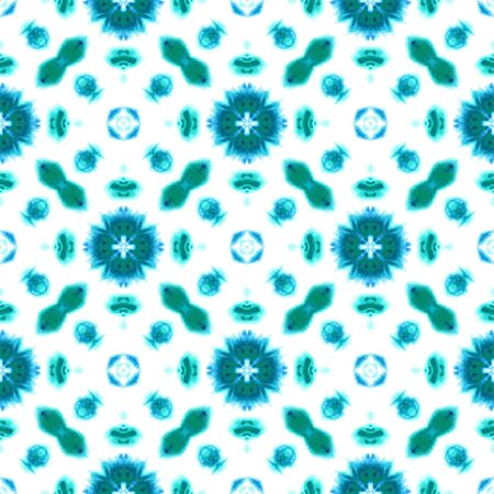 Traditional Surface. Endless Repeat Painting.  Tie Dye, Batik, Hand Drawn, Paint Texture Ornament. Blue, Cyan, Turquoise Vintage Traditional Summer Carpet. Stripes Geometry Surface. Stock Photo