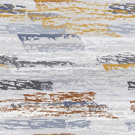 Grunge Dry Paint Surface. Stripy Crayon Pencil Strokes. Seamless Pattern. Summer Chalk Trends Motif. Khaki and Camo Backdrop. Swipe Charcoal Texture Surface. Dirty Brush Vector Background. Illustration