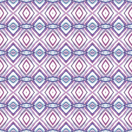 Chevron Geometric Hand Drawn Painted.  Moroccan, Spanish, Mediterranean, Majolica Seamless Pattern.  Traditional Graphic. Geo Canvas. Purple, Pink Surface. Stripes Art.