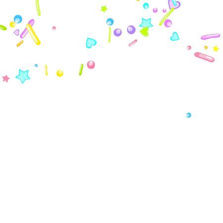 Sprinkles grainy. Cupcake donuts, dessert, sugar, bakery background. Sweet confetti on white chocolate glaze background. Vector Illustration sprinkles holiday designs, party, birthday, invitation. 일러스트