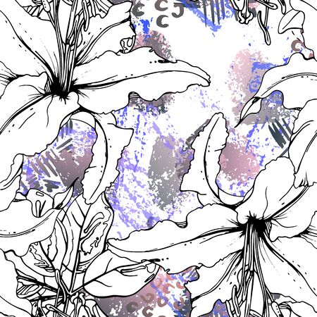 Artistic, Tropical, modern motif. Black and white graphic jungle print. Summer flower on abstract shape brush line. Trending contrast seamless pattern vector background. Watercolor blobs, ink, stains.