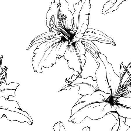 Floral Black and White Seamless Pattern. Graphic Botanical Vector Motif. Blooming Texture For Fashion Prints. Outline Lily Flowers Surface. Art Ornament. Elegant Sketches Drawing Illustrated.