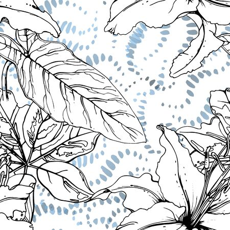 Tropical, modern motif. Black and white graphic jungle print. Summer flower on abstract shape brush line. Trending contrast seamless pattern vector background. Artistic Watercolor blobs, ink, stains.
