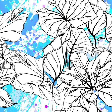 Floral Black and White Pattern. Blue Artistic Watercolor Print. Outline Flowers Seamless Surface. Botanical Vector Motif. Blooming Texture For Fashion. Drawing Abstract Leaf. Trends Tropic Background.