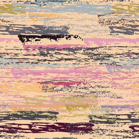 Hand Drawn Grunge Surface. Stripy Chalk Coal Pattern. Seamless Pattern. Cool Chalk Print. Khaki and Camo Backdrop. Art Background Surface. Brush Vector illustration. Ilustracja