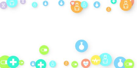 Pharmacy Background. Clinic Backdrop. Random Fall Health Care Icon. Medical Concept. Pharmaceutic Symbols. Colorful Circle Elements on White. Medicine Template. Layout Technology Vector Illustration.