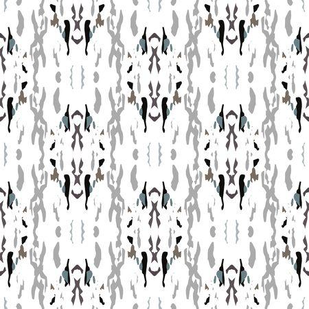 Trama di vernice. Shibori, ornamento di colorazione. Arte Geografica. Pittura ripetuta senza fine. Tappeto estivo antico grigio nero. Colorazione ornamento di tintura per cravatta organica.