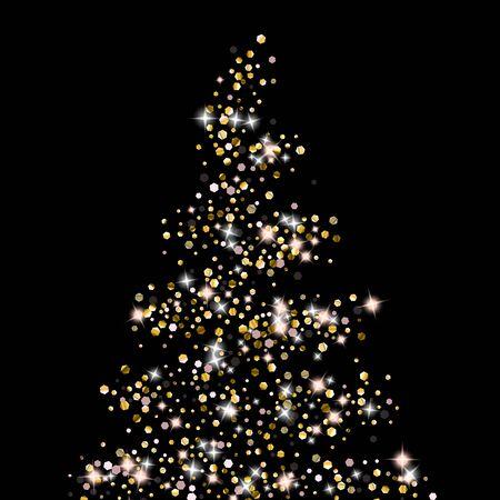 Gold Glitter Stars. Luxury Shiny Confetti. Scattered little sparkle. Flash glow silver element. Random magic tiny light. Hexagon stellar fall black background. New Year, Christmas Vector illustration. Ilustracja