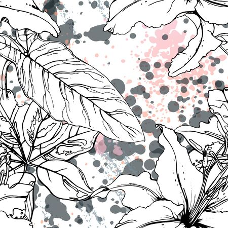 Artistic, Tropical, modern motif. Black and white graphic jungle print. Summer flower on abstract shape brush line. Trending contrast seamless pattern vector background.  blobs, ink, stains. Stock Illustratie