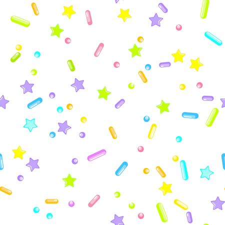 Sprinkle Cupcake Donut. Sprinkles Topping. Seamless Pattern. Sweet Confetti Background.  Cupcake Donuts Background. Design Invitation Holiday, Party, Birthday. Rainbow Confectionery Illustration. Ilustração