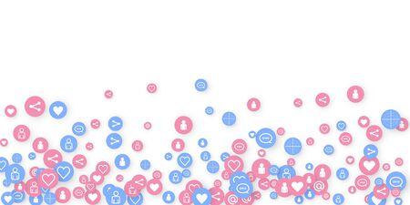 Social media marketing, Communication networking concept. Random icons social media services tags linked on white background. Comment, friend, like, share, target, message. Vector Internet concept. Ilustração