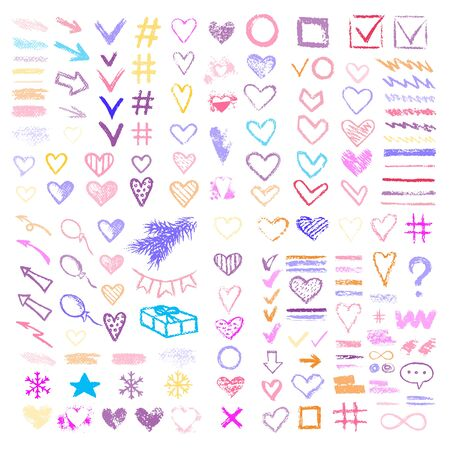 Set chalk vector textures. Collection hand drawn elements. Dirty Grunge Pastel pencil. Hearts, stars, hash tag, stripes, brushes, scribble, check marks. Smear Crayon pencil strokes symbols background.