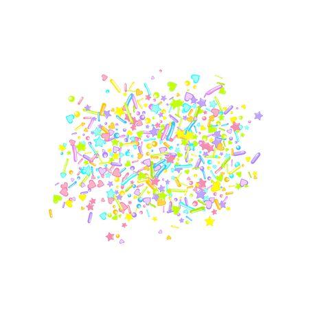 Sprinkles grainy. Cupcake donuts, dessert, sugar, bakery background. Sweet confetti on white chocolate glaze background. Vector Illustration sprinkles holiday designs, party, birthday, invitation. Ilustração