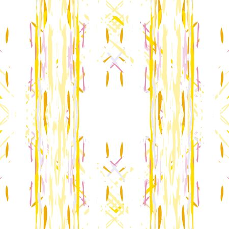 Spots, Tie Dye, Batik. Seamless Pattern.  Geometric Surface.  Sepia Yellow Folk Vintage Native Carpet.  Graphic Organic Ikat Mosaic.