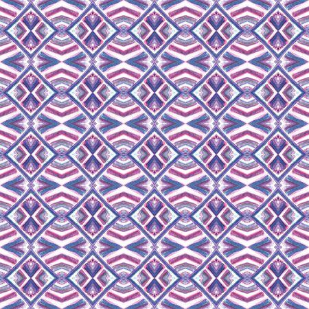 Geo Texture.  Talavera, Azulejos, Spain, Islam, Arabic Seamless Pattern. Traditional Graphic. Old Fabric. Purple, Pink Print. Stripes Surface.