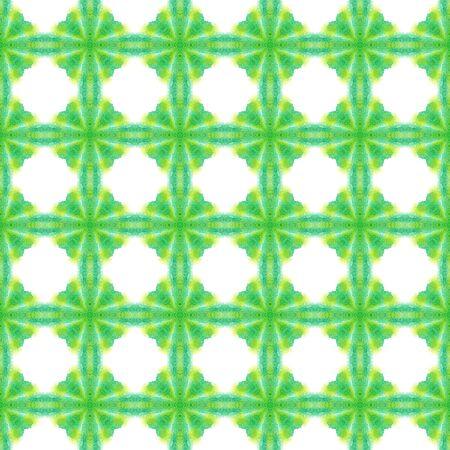 Ethnic Surface.  Azulejo, Portuguese, Spain, Islam, Arabic  Seamless Pattern. Geo Texture. Folk Woven. Green, Mint,  Tile. Geometric Motif. Banco de Imagens