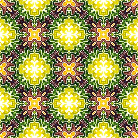 Ethnic Texture. Islam, Orient, Spanish, Talavera Seamless Pattern. Tribal Texture. Traditional Tribal Home Decor. Burgundy, Green Print. Medallion Tile.
