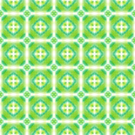 Geo Texture. Tunisian, Turkish, Arab, Arabesque Seamless Pattern.  Surface. Ancient Traditional Canvas. Green, Mint,  Pattern. Ornamental Print.