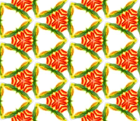 Geo Art. Endless Repeat Painting.  Talavera, Azulejos, Spain, Islam, Arabic Ornament. Modern Abstract. Traditional Bed Linen. Green, Orange Ornament. Organic Pattern. 免版税图像
