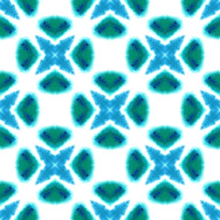 Geo Art. Endless Repeat Painting.  Paint Texture, Shibori, Staining Ornament. Blue, Cyan, Turquoise Old Folk Ethnic Embroidery. Graphic Geometric Design.