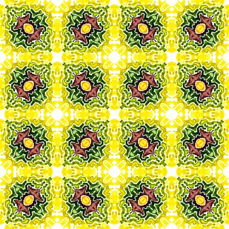 Traditional Graphic  Mediterranean, Majolica, Azulejo, Portuguese Seamless Pattern. Traditional Graphic. Old Linen. Burgundy, Green Tile. Geometric Texture.
