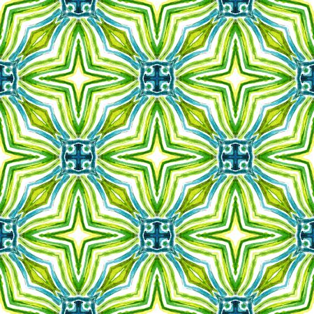Traditional Graphic  Mediterranean, Majolica, Azulejo, Portuguese Seamless Pattern. Geo Art. Tribal Embroidery. Blue, Green  Texture. Chevron Tile. Banco de Imagens