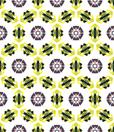 Geo Art. Endless Repeat Painting.  Mandala, Medallion, Floral, Flower Ornament. Traditional Graphic. Summer Ethnic Carpet. Brown, Yellow Art. Geometrical Print.