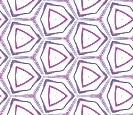 Geo Art. Endless Repeat Painting.  Indian, Aztec, Mexican, African,  Ornament. Traditional Surface. Folk Linen. Pink, Purple, Lilac Mosaic. Ornamental Art.