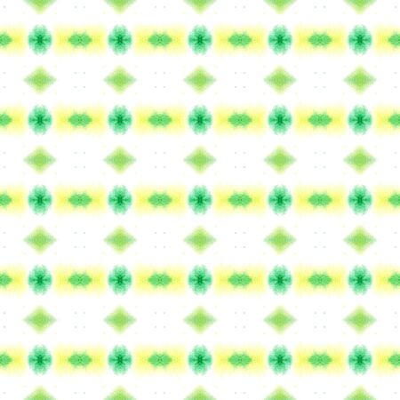 Ethnic Surface.  Tie Dye, Batik, Paint Texture Seamless Pattern.  Yellow, Green Traditional Ancient Vintage Canvas. Ornamental Herringbone Tile.