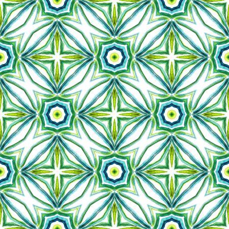 Traditional Surface. Endless Repeat Painting.  Orient, Spanish, Talavera, Tunisian Ornament. Chevron Geometric. Folklore Traditional Textile. Blue, Green  Motif. Geometric Texture. Banco de Imagens
