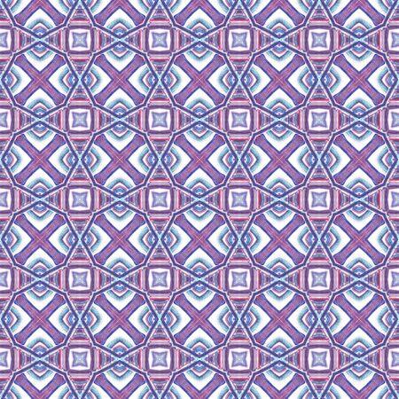 Geo Texture.  Tunisian, Turkish, Arab, Arabesque Seamless Pattern. Modern Abstract. Modern Old Bed Linen. Purple, Pink Motif. Organic Art.