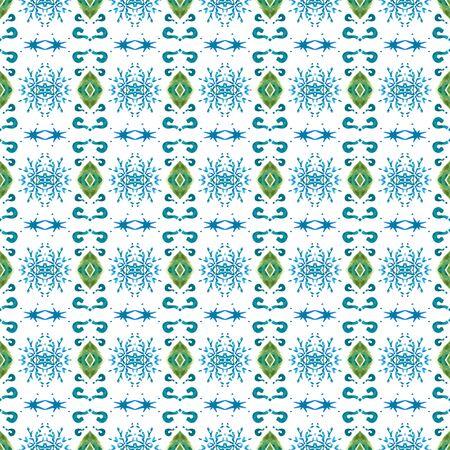 Traditional Surface. Endless Repeat Painting.  Russian, Celtic , Polish, Balto-Slavic Ornament. Geo Texture. Folk Canvas. Blue, Green Art. Chevron Ornament.