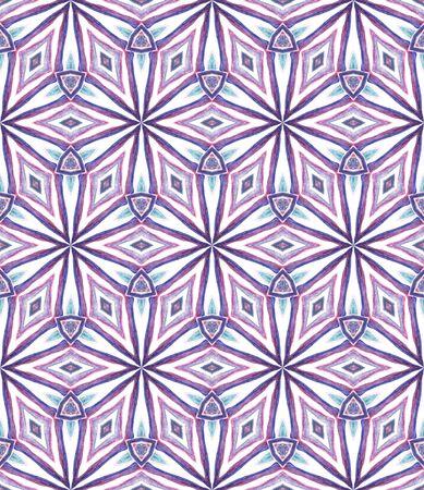 Ethnic Surface.  Orient, Spanish, Talavera, Tunisian  Seamless Pattern. Tribal Texture. Old Modern Carpet. Purple, Pink Art. Geometric Motif. Banco de Imagens