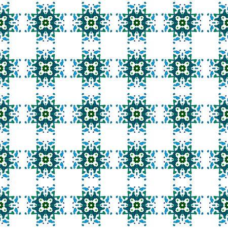 Surface. Endless Repeat Painting.  Baltic, Slavic, Pagan, Northern, Ornament. Geo Art. Native Bed Linen. Blue, Green Motif. Medallion Design.