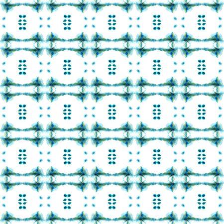 Geo Art. Endless Repeat Painting.  Baltic, Slavic, Pagan, Northern, Ornament. Tribal Texture. Traditional Linen. Blue, Cyan, Design. Chevron Surface.