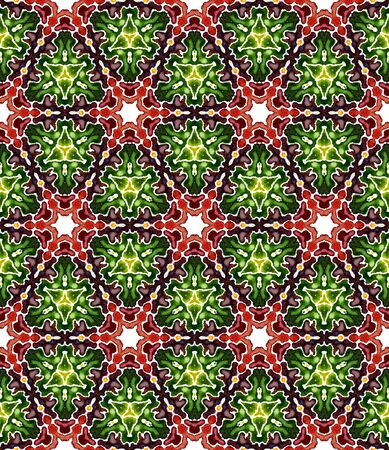 Ethnic Surface. Orient, Spanish, Talavera, Tunisian  Seamless Pattern. Tribal Texture. Folklore Traditional Wallpaper. Burgundy, Green Design. Chevron Design.