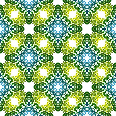 Ethnic Texture.  Hippie, Boho, Gypsy, Mediterranean Seamless Pattern. Modern Abstract. Ethnic Folk Fabric. Blue, Green  Mosaic. Geometry Design. 免版税图像